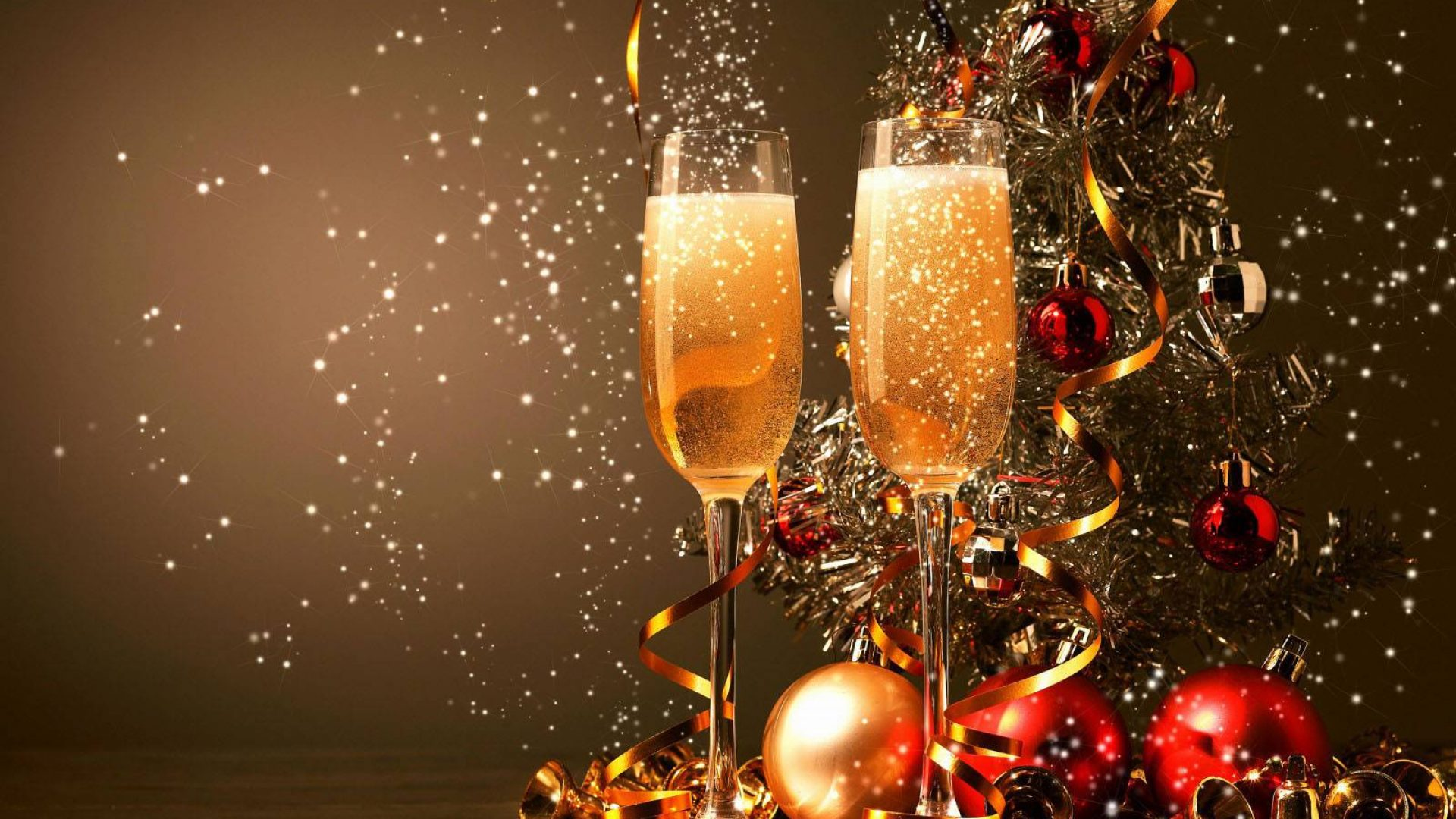 Happy New Year 2020 Glasses With Champagne For Two Decorations 1920x1080