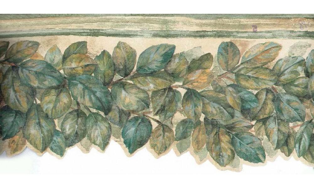 Home Green Leaves Pallet Wallpaper Border 1000x600