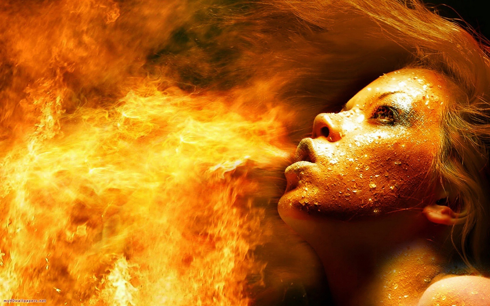 Fire girl   Desktop Wallpaper HD Wallpapers Download and New 3D 1680x1050