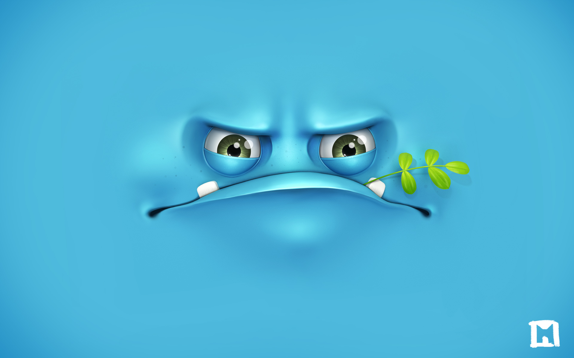Angry Face Blue HD Wallpaper for Desktop 1920x1200