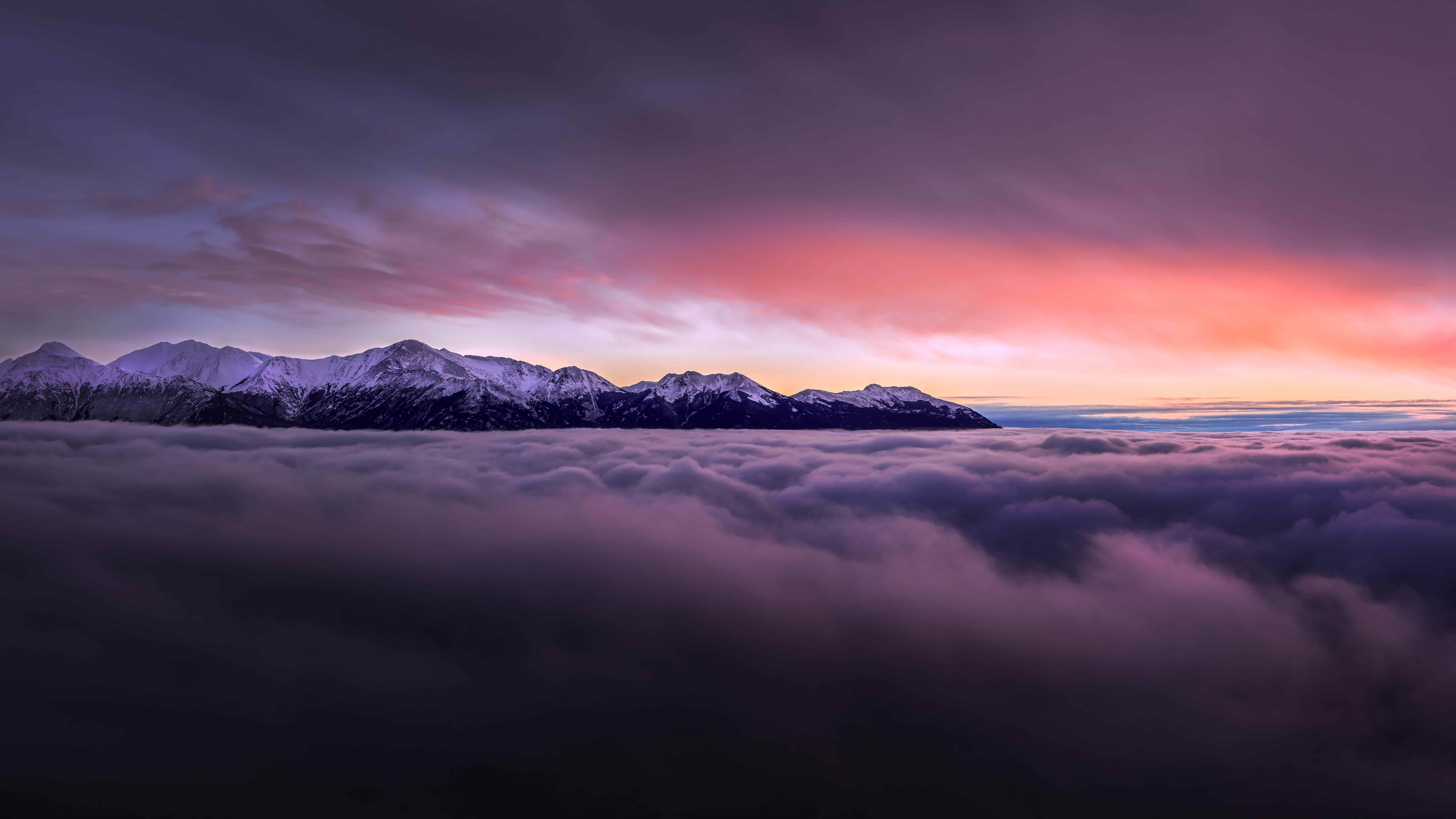 Sunset With Mountains Above Clouds 4K wallpaper 7680x4320