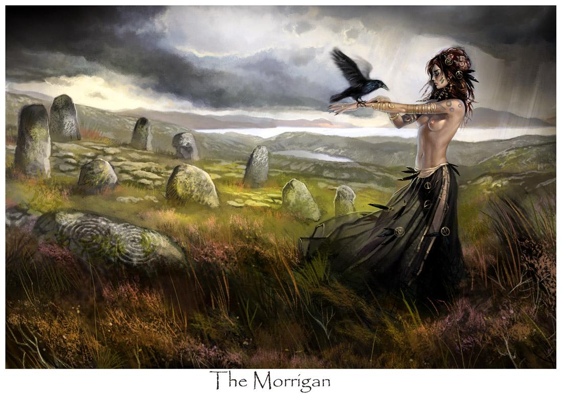 1100x772 2206 The Morrigan 2d fantasy celtic irish girl female bird 1100x772