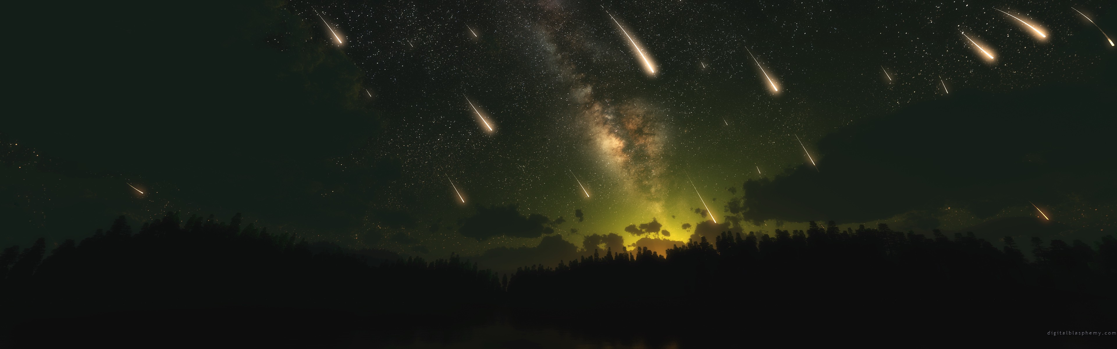 space dual cosmos meteorite skyscapes meteor shower dual monitor 3840x1200