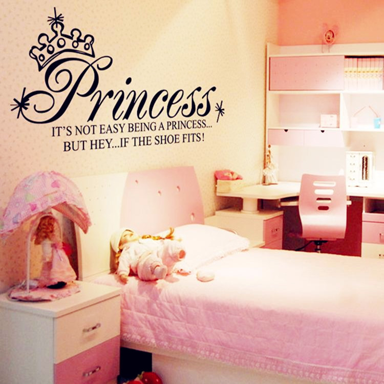 Removable PVC Wallpaper Princess Art Quote Wall Decals Girls Bedroom 750x750