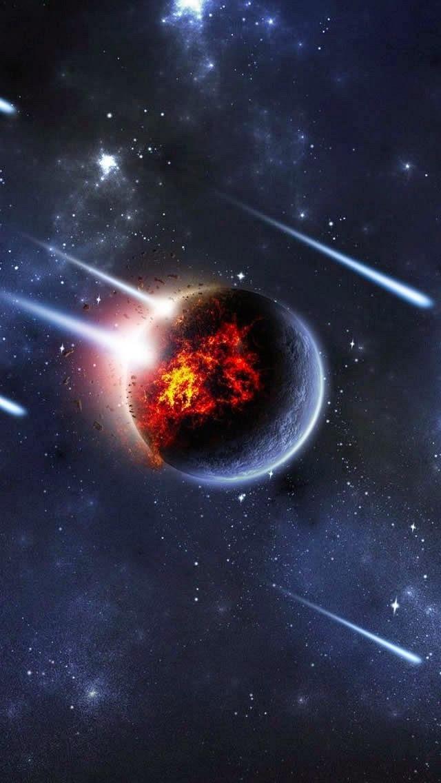 wallpaper iphone 5 s meteor rain on planet 640 x 1136jpg 640x1136