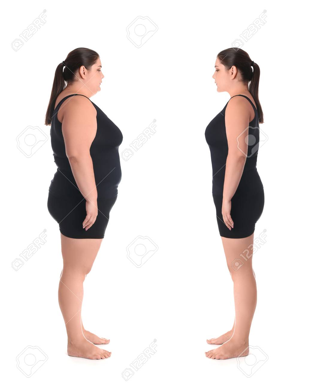 Overweight Woman Before And After Weight Loss On White Background 1058x1300