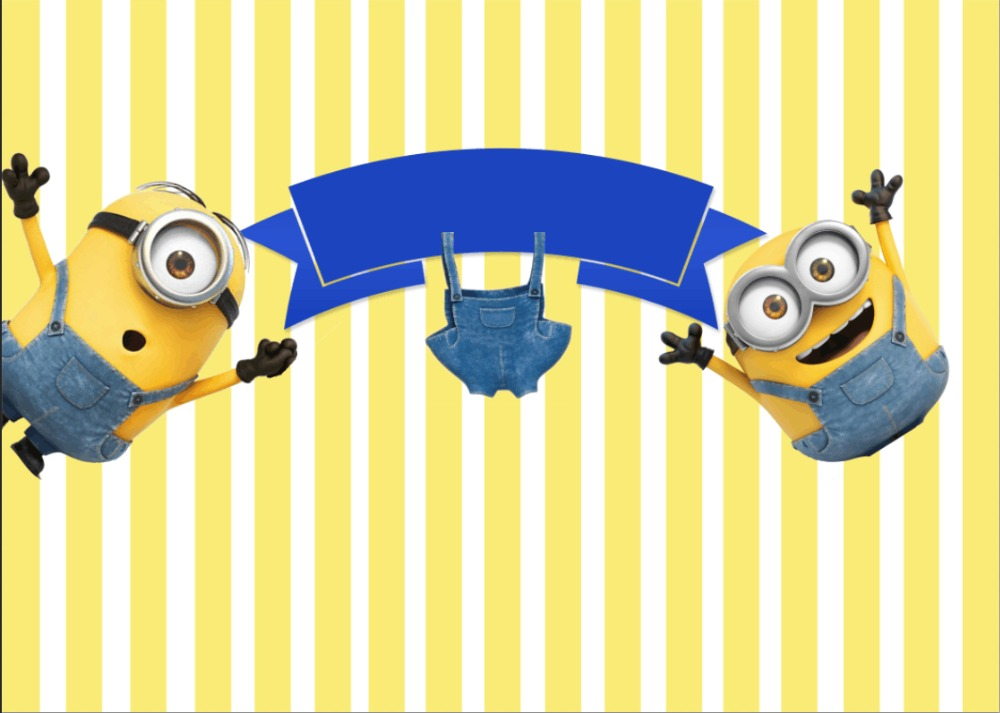 7x5FT Blue Stripes Minions Trousers Ribbons Baby Shower Custom New 1000x713