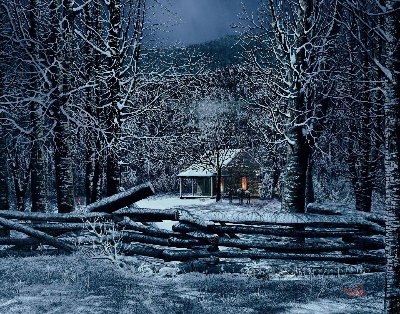 old cabin winter scene wallpaper - photo #15