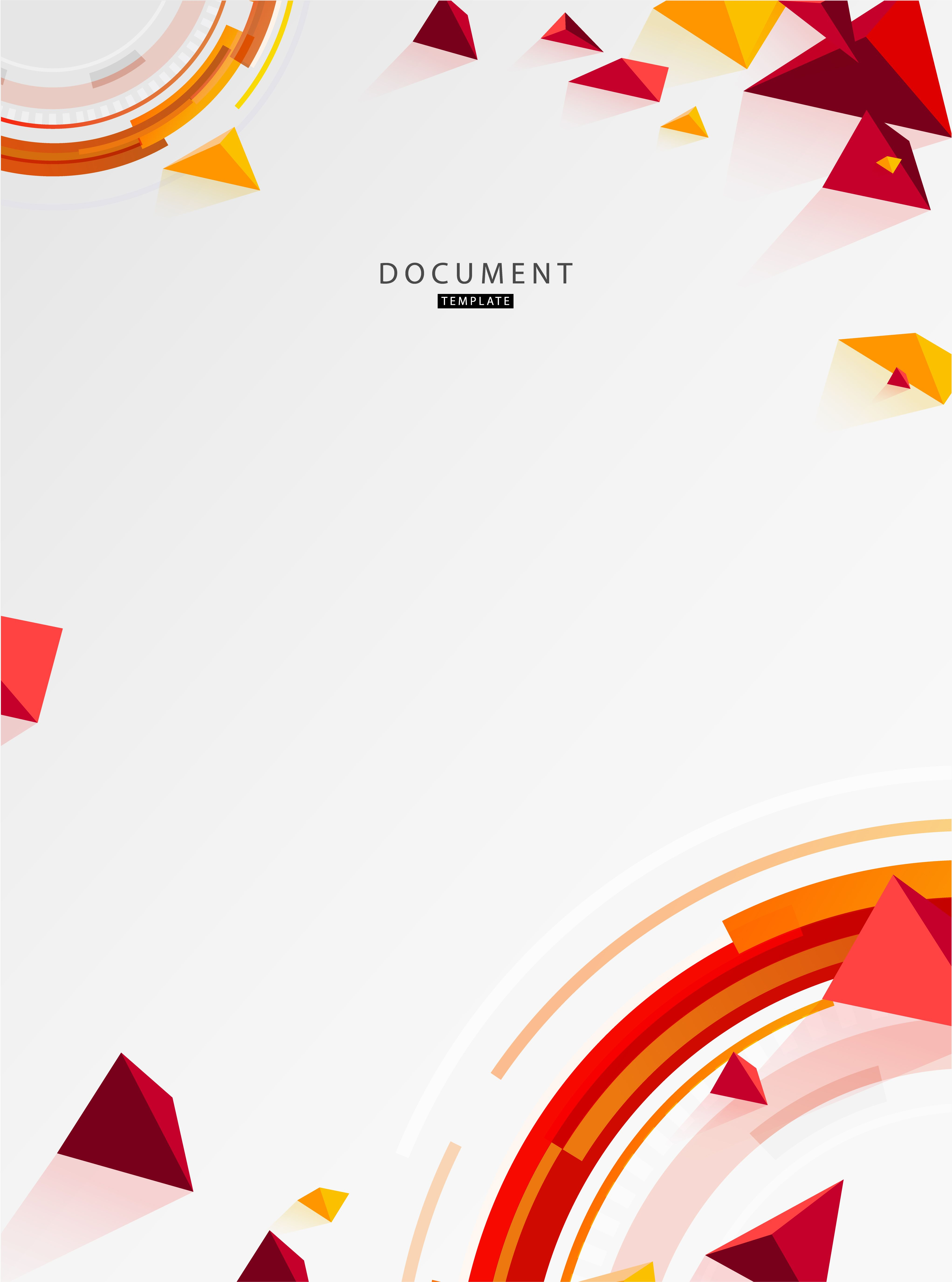 Vector document design template with abstract polygonal objects 4086x5500
