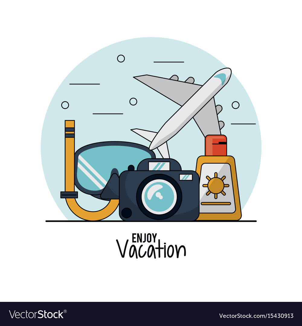 White background of enjoy vacation with snorkel Vector Image 1000x1080
