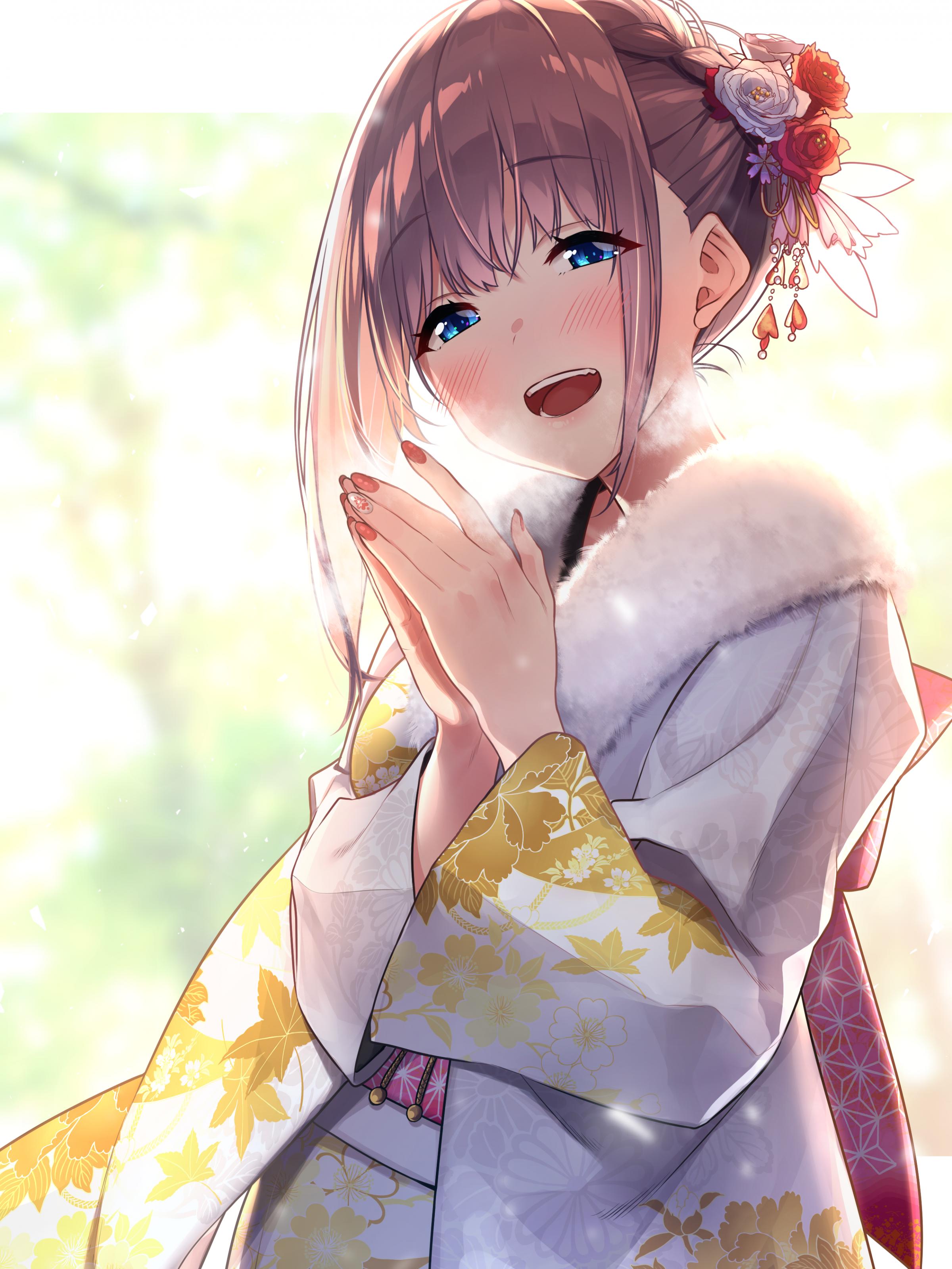 Download 2400x3200 Kimono Brown Hair Anime Girl Smiling Happy 2400x3200