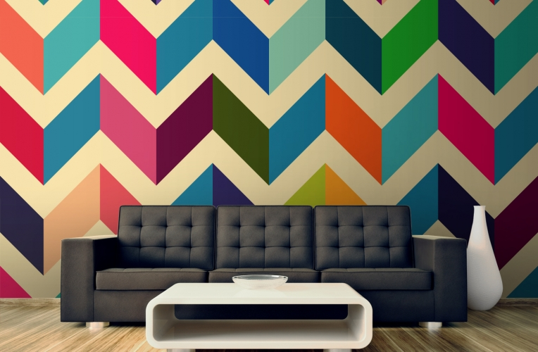 Multicoloured Zig Zag Pattern Wall Mural MuralsWallpapercouk 764x500