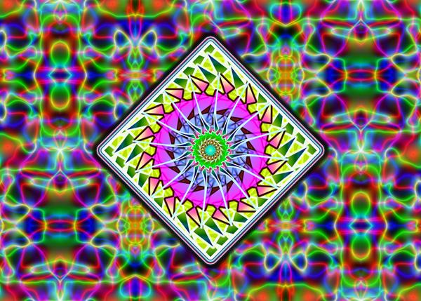 Trippy Mushroom Twitter Backgrounds Mandala on a tesla background 600x429