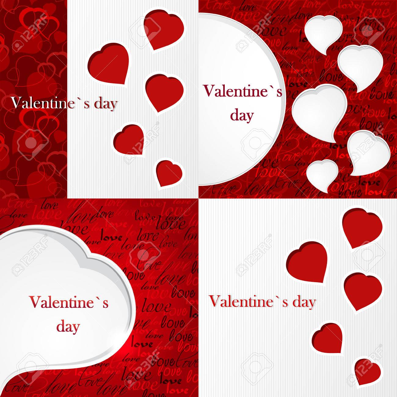 Set Of Happy Valentines Day Backgrounds With Hearts Design 1300x1300