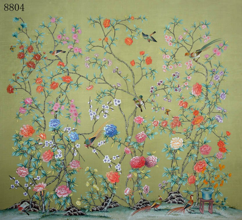 Hand Painted Wallpaper Silk wih rice paper back in Other Antique 833x757