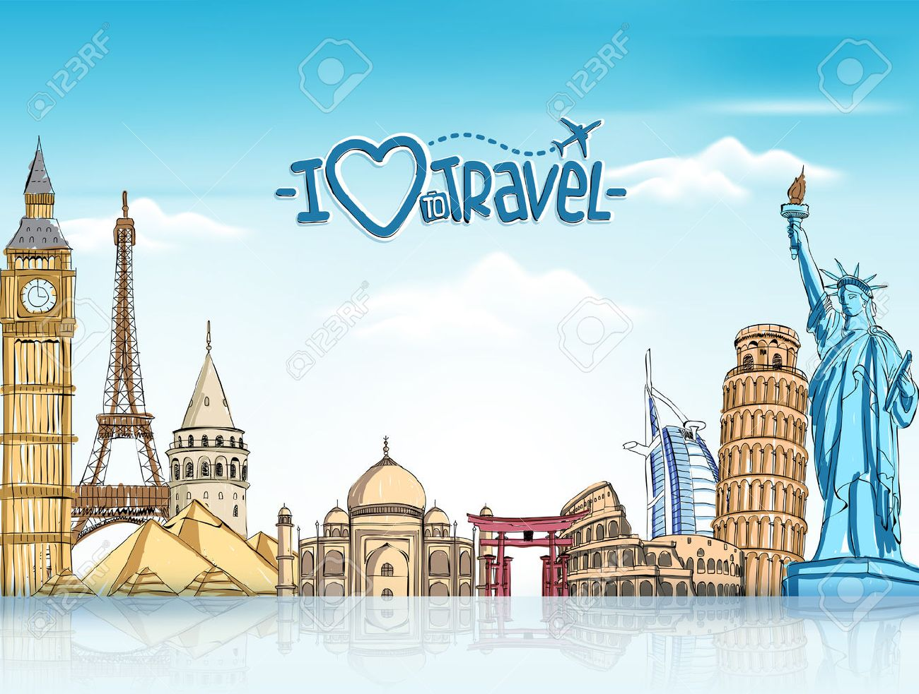 Travel And Tourism Background With Famous World Landmarks In 1300x983