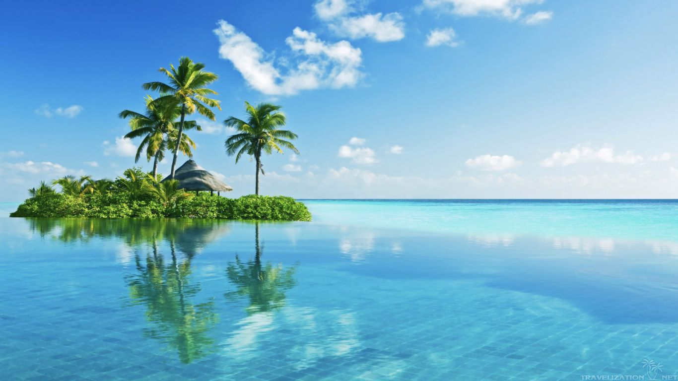 Tropical Island Backgrounds HD Cool Picture 1366x768