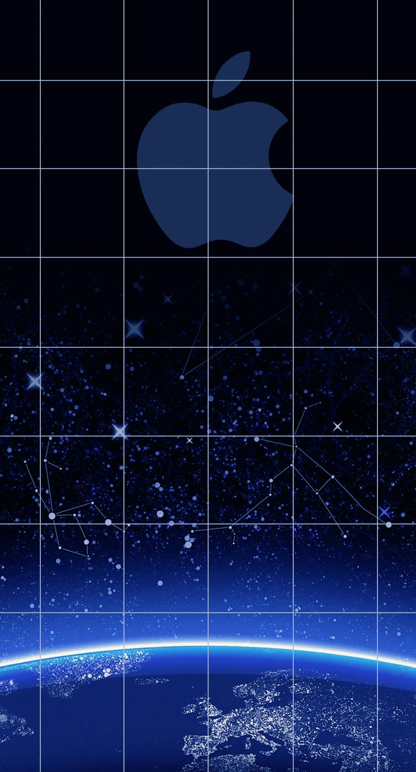 Apple logo shelf cool blue universe wallpapersc iPhone7Plus 1398x2592