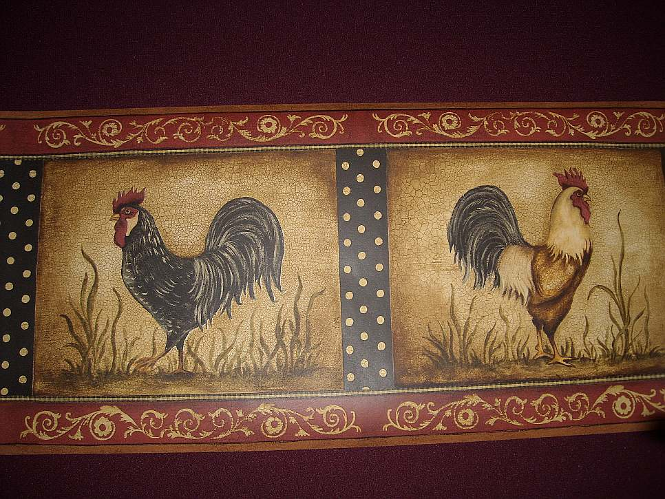 Red Rooster Wallpaper Border 966x725
