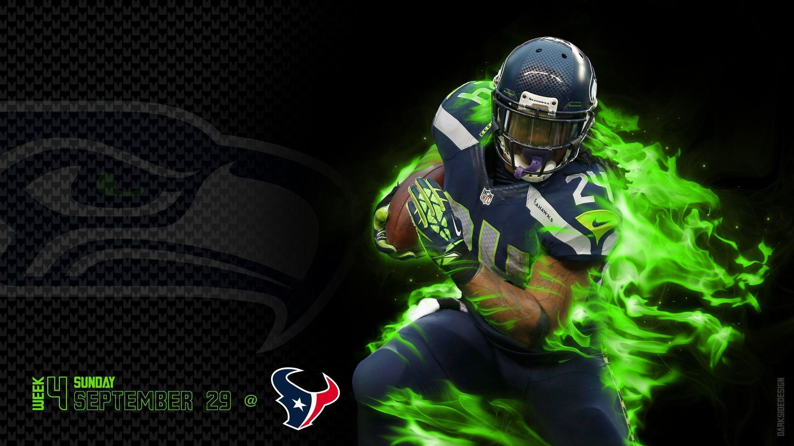 3d Nfl Football Widescreen Background Cool Pics   Marshawn 2560x1440