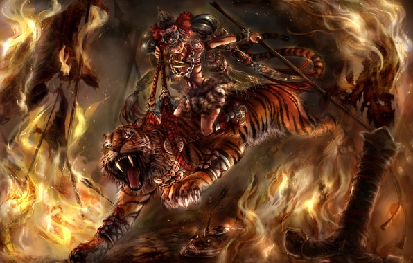 Wallpaper art tiger wolf girl fire sword leather wallpapers 596x380