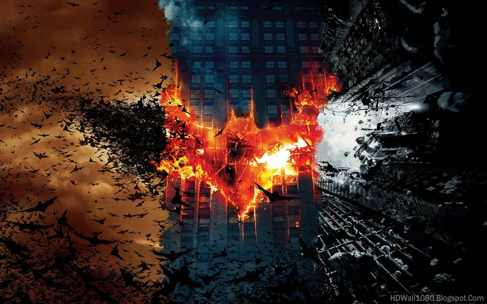 HD PC Desktop Wallpapers: Batman Trilogy Fire Wallpaper HD