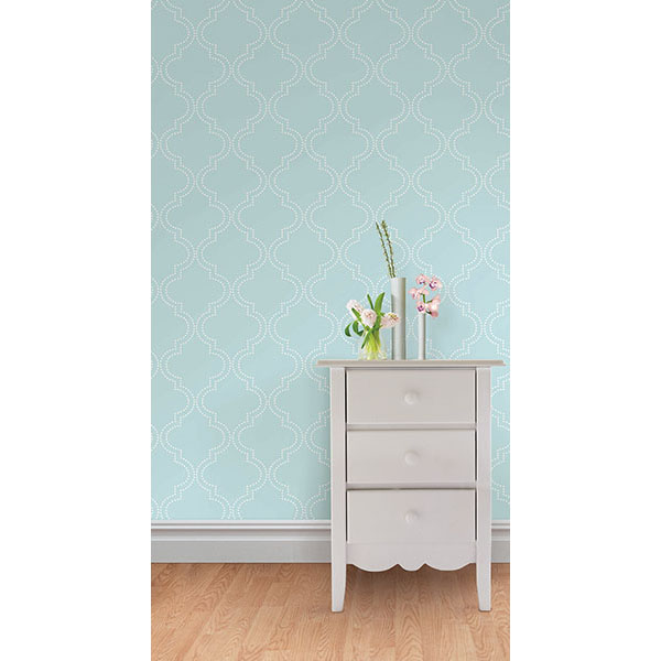 Blue Quatrefoil Peel And Stick Wallpaper   By NuWallpaper 600x600
