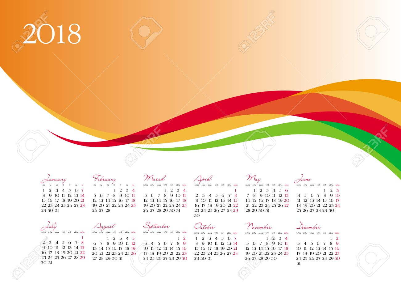 Template Of 2018 Calendar On Orange Background Vector 1300x919