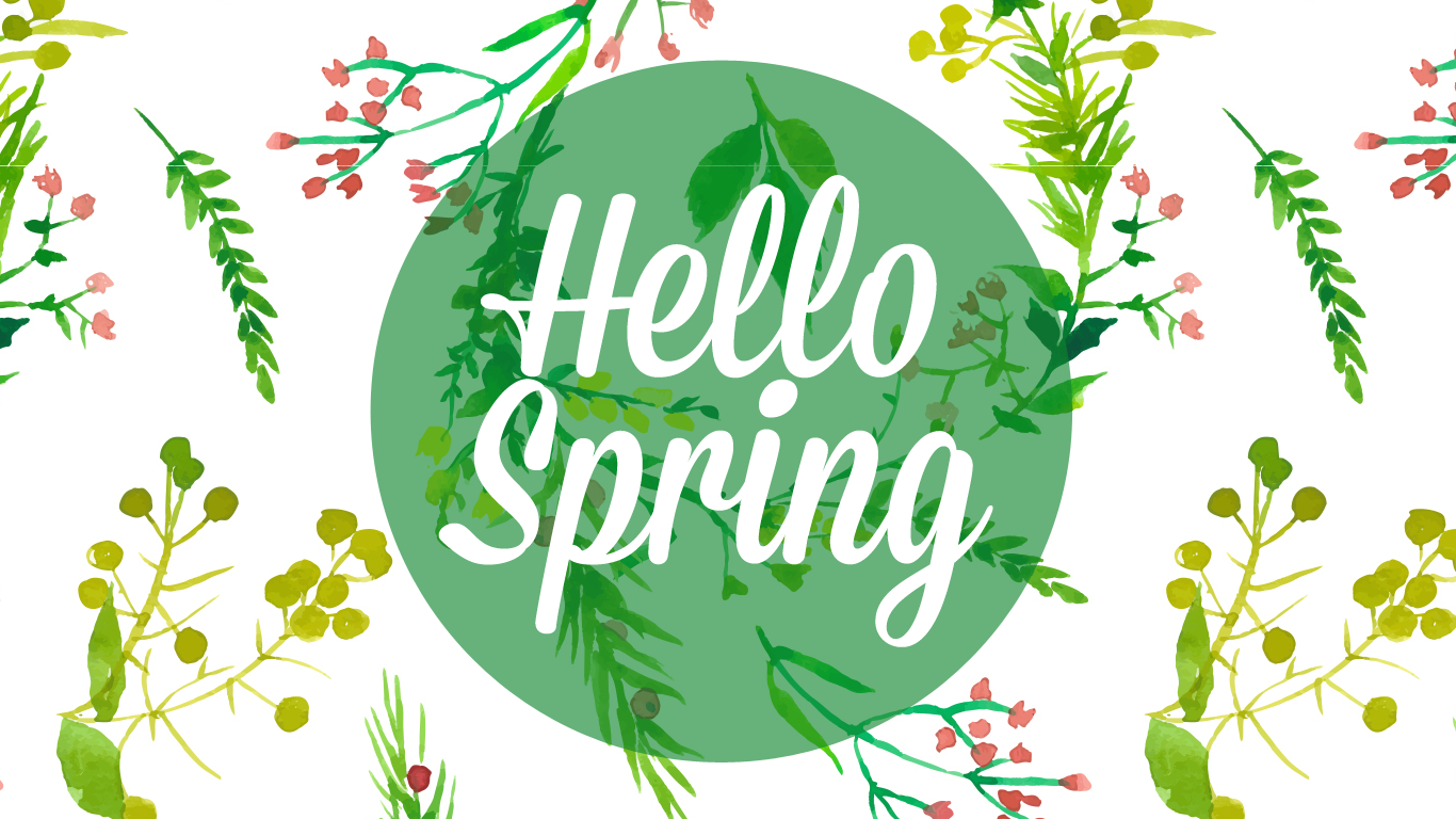 Freebie HELLO SPRING Desktop iPhone Wallpaper Sweet Mint 1366x768
