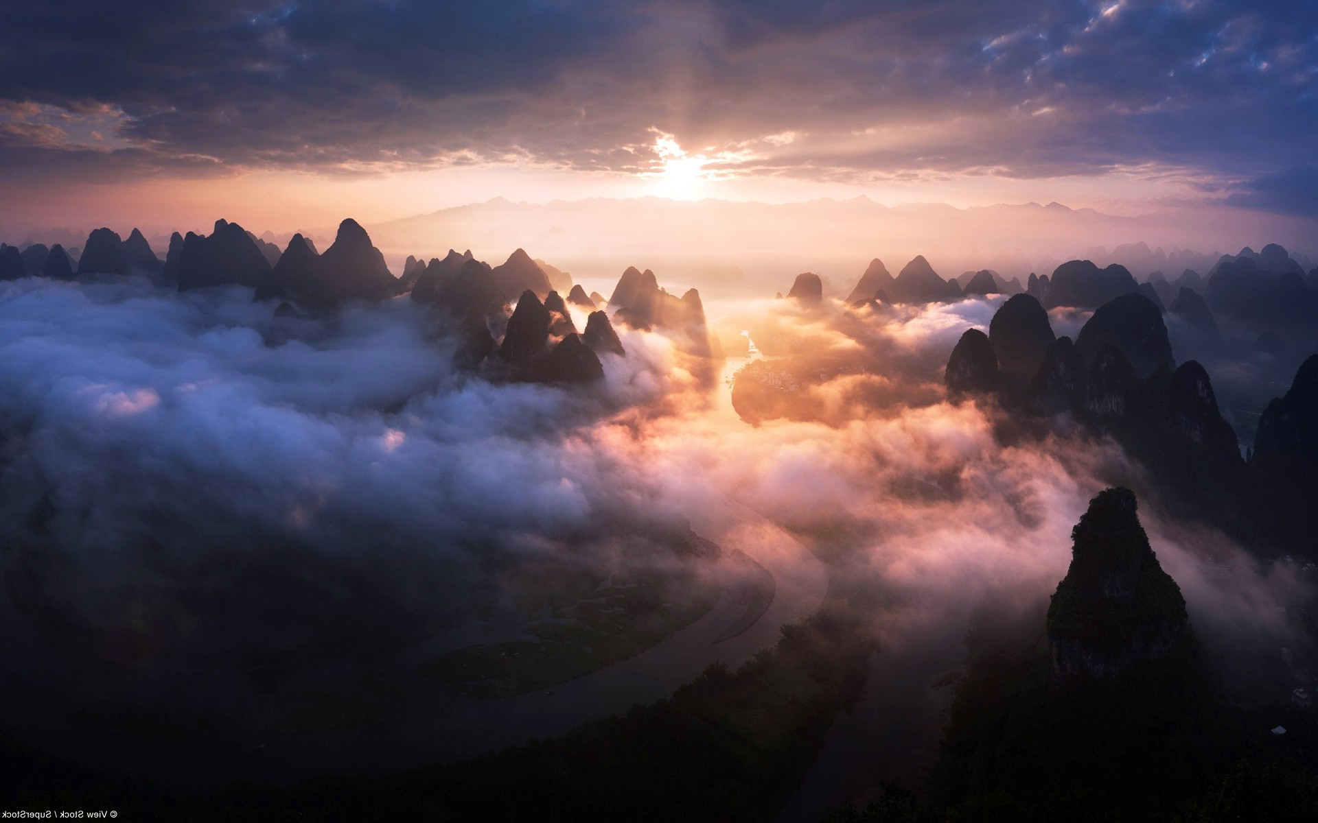 nature Landscape Mountain Clouds Sunlight River Wallpapers HD 1920x1200