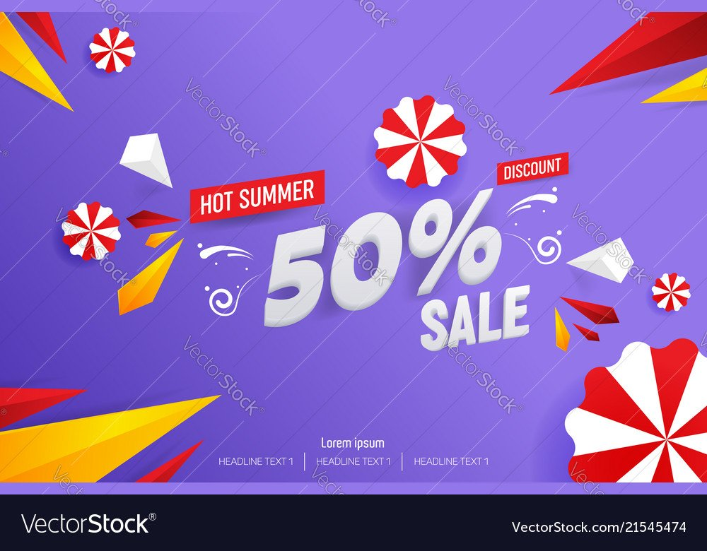 Abstract hot summer sale 50 discount background Vector Image 1000x780