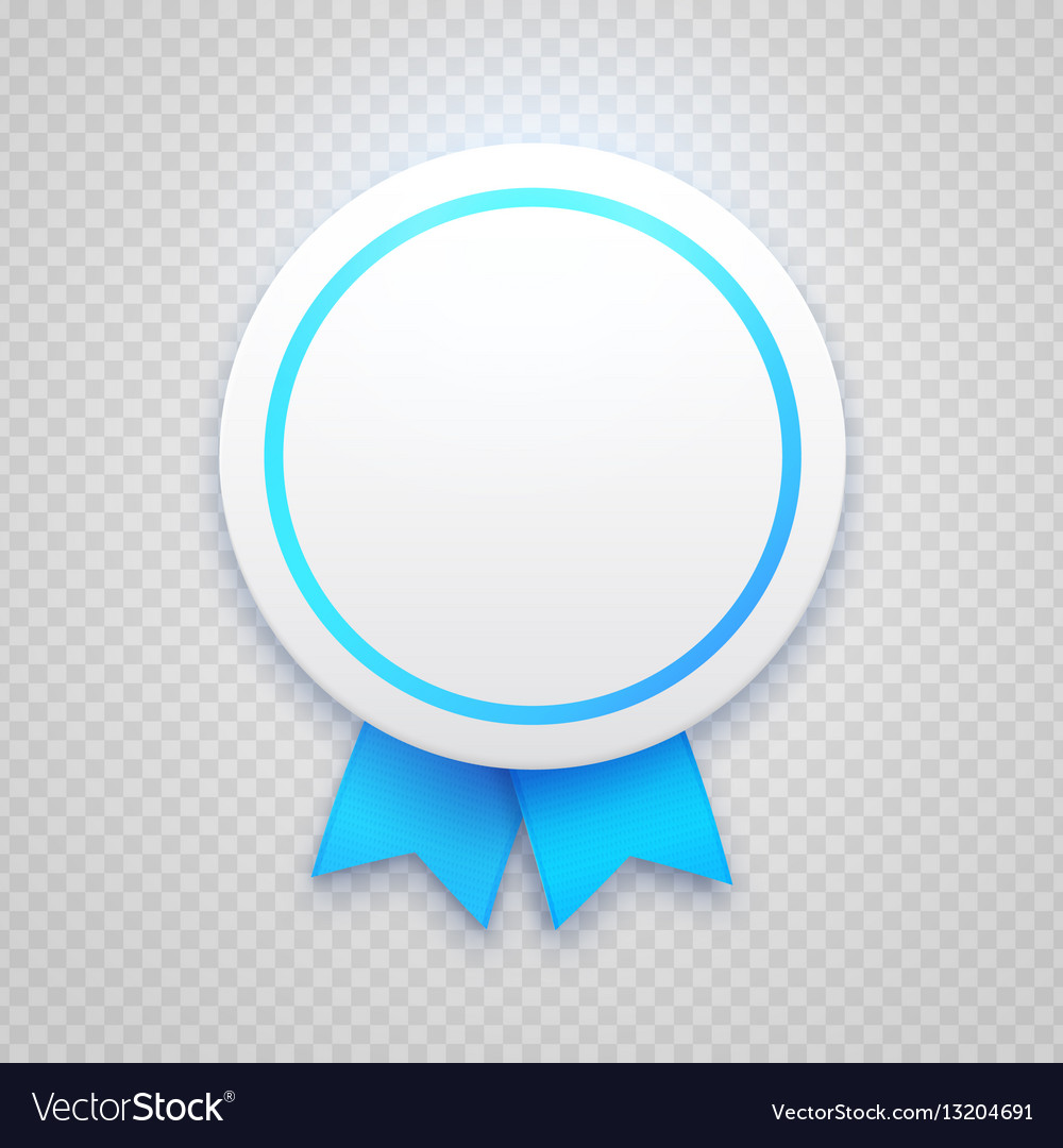 Badge with blue ribbon on transparent background Vector Image 1000x1080