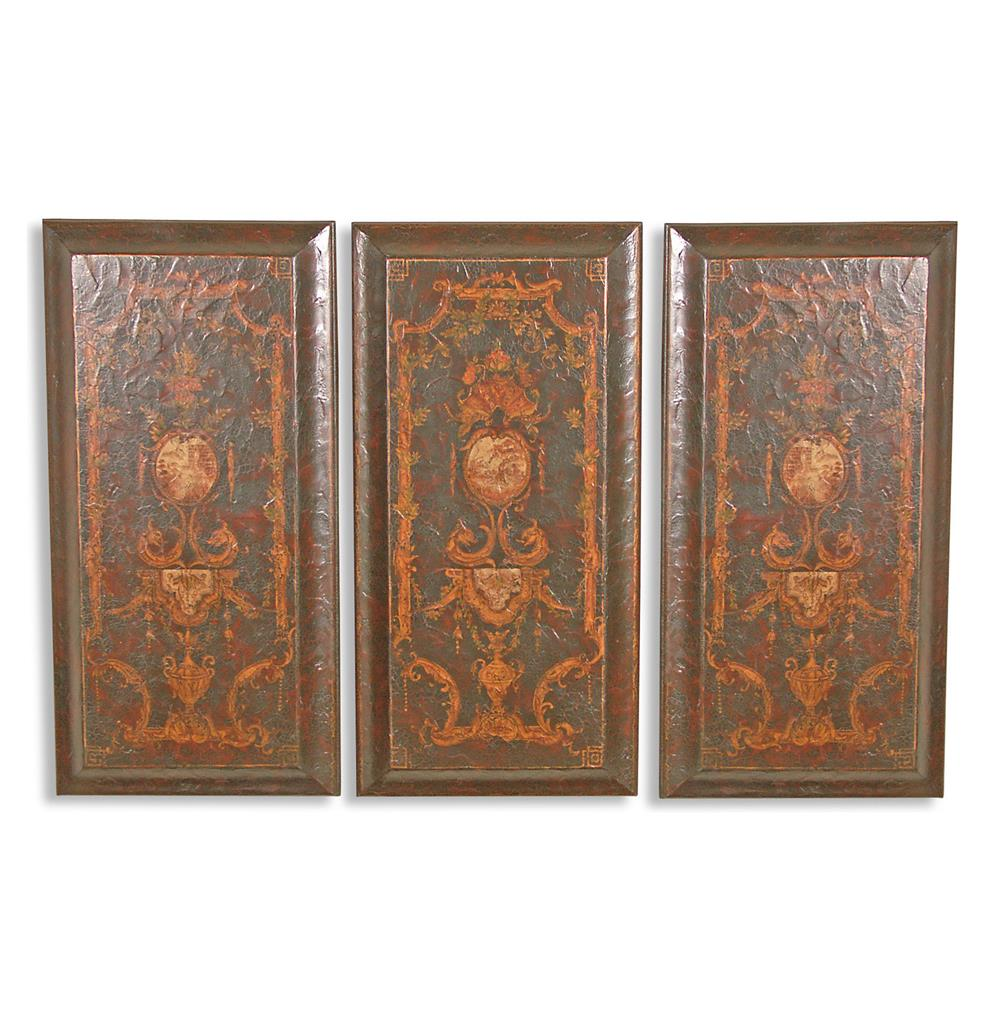 Set of 3 Baroque Italian Hand Painted Wooden Wall Panels 1000x1021