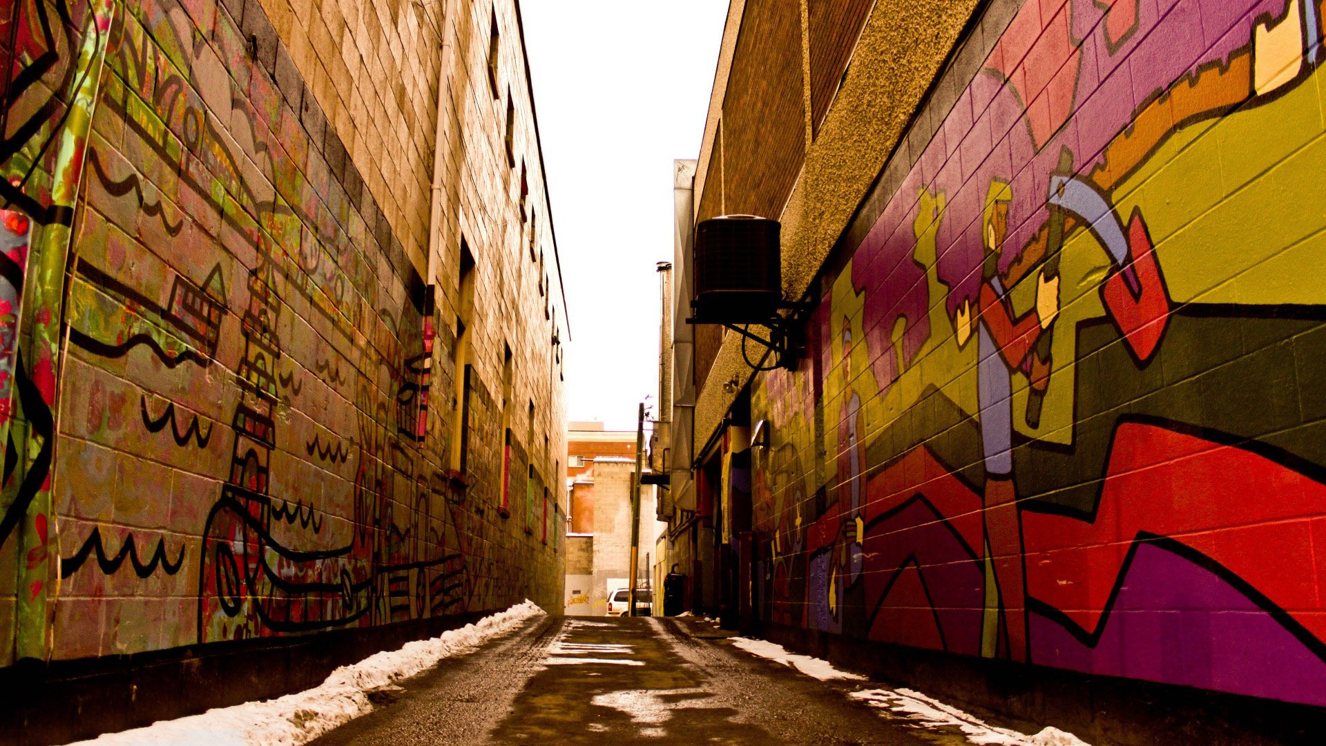 Graffiti covered alley walls wallpaper 11616 1920x1080