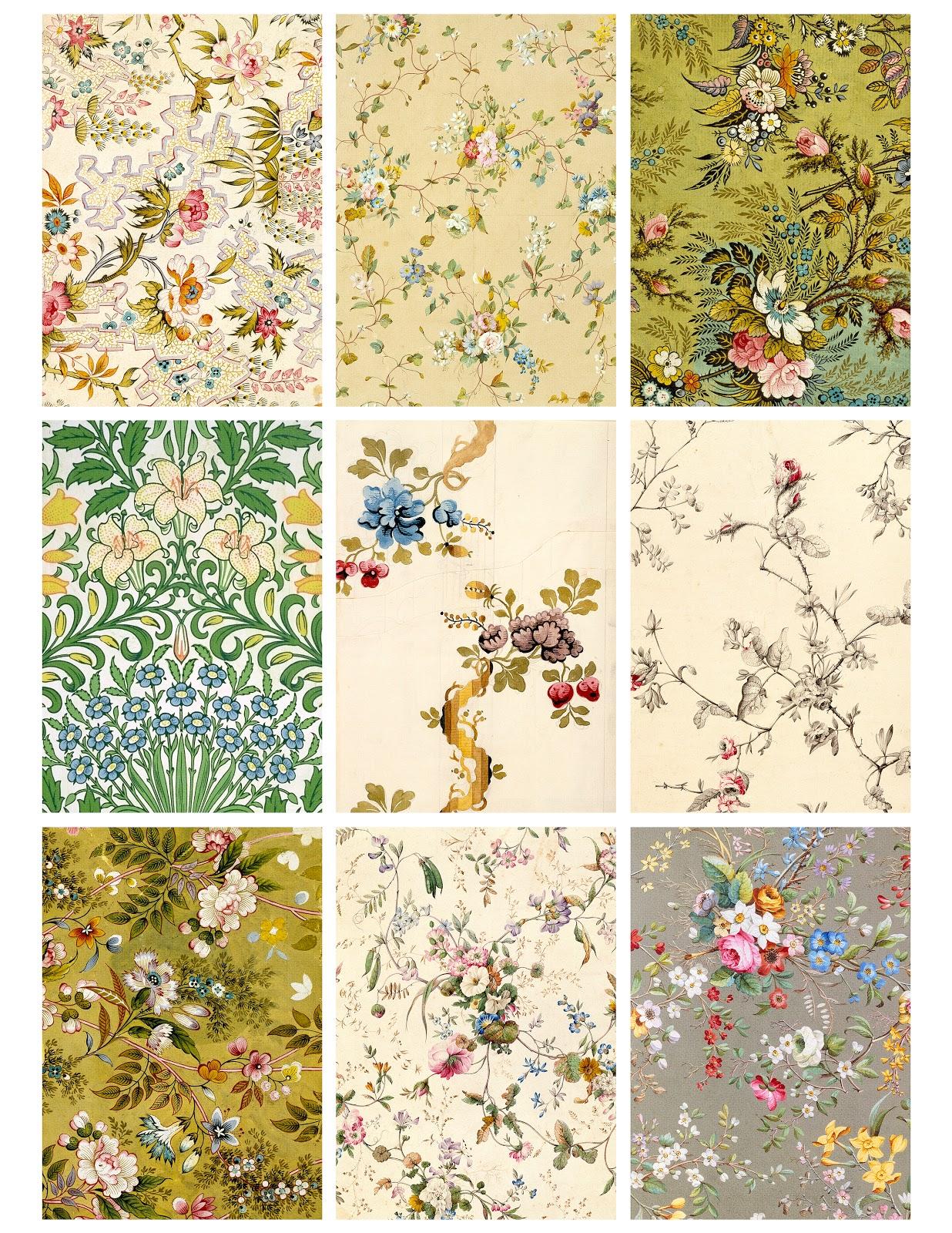 Jodie Lee Designs Printable Antique Flower Wallpaper Cards 1236x1600