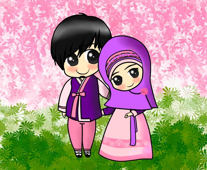 Muslim couple   Chibi Couples IslamicArtDBcom 723x595