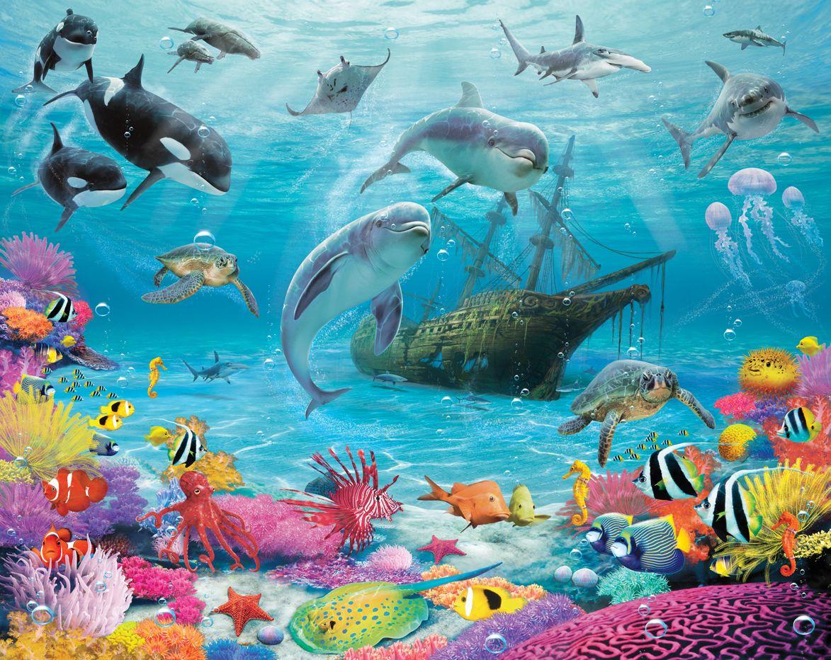 Under the sea wallpaper wallpapersafari - Groen behang van het water ...