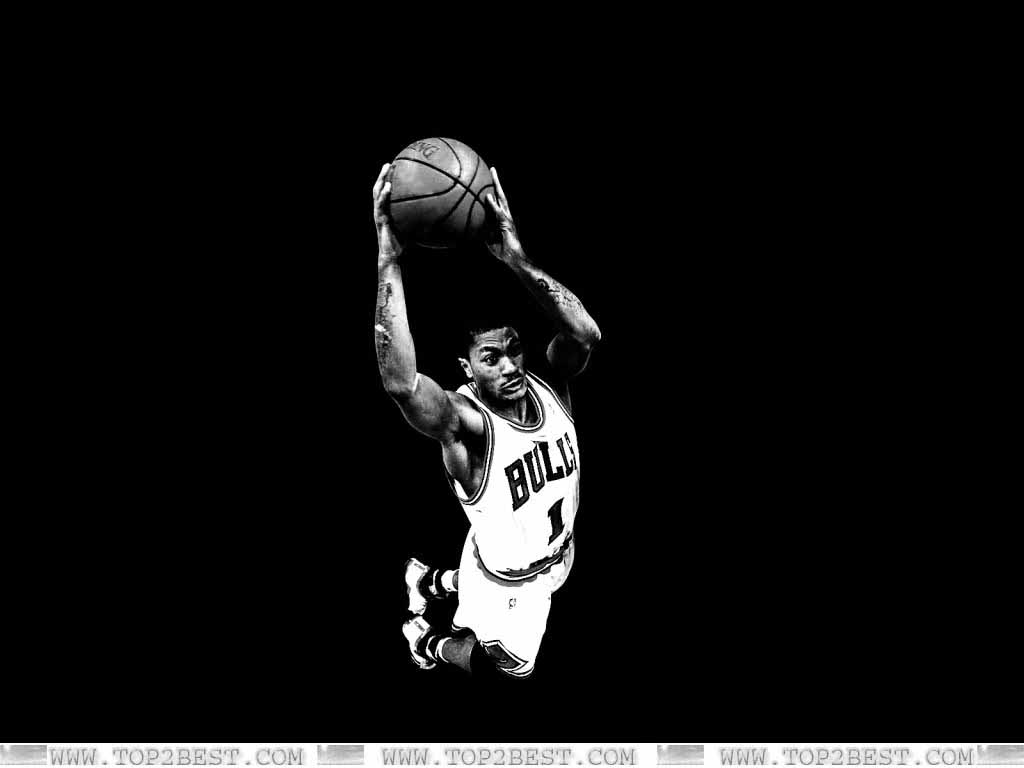 Derrick Rose Black White 1024x768
