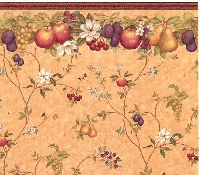 Wallpaper Vintage Fruits Victorian Kitchen Pinterest 671x586