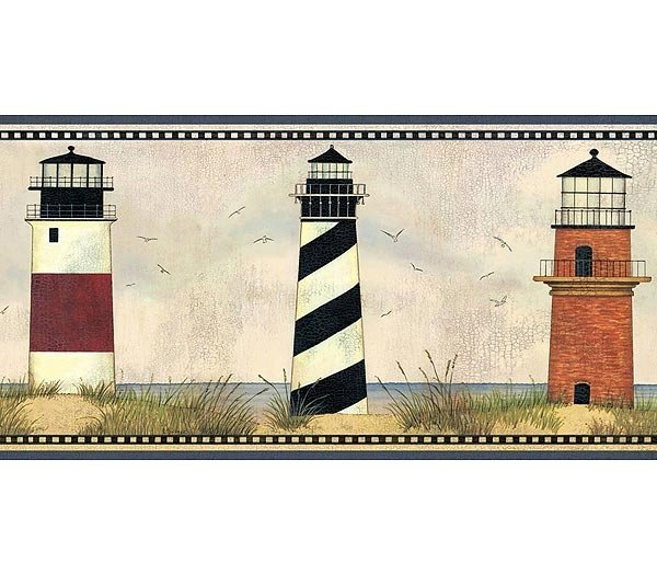 Lighthouse Wallpaper Border light house nautical beach decor 600x525