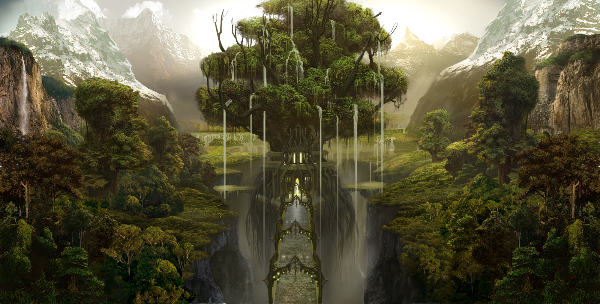 bridge fantasy forest tree waterfall high resolution HD Wallpaper of 2000x1014