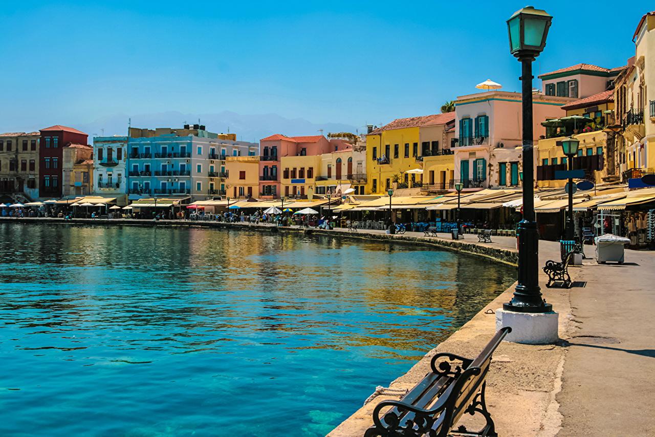 Wallpaper Greece Crete Coast Street lights Cities Building 1280x853