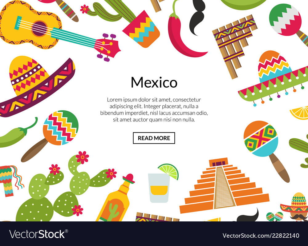 Flat mexico attributes background place for Vector Image 1000x800