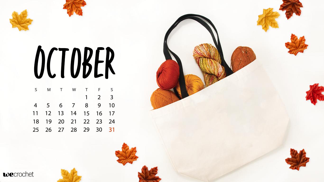 FREE DOWNLOAD OCTOBER 2020 CALENDAR WALLPAPER   WeCrochet Staff Blog 1366x768