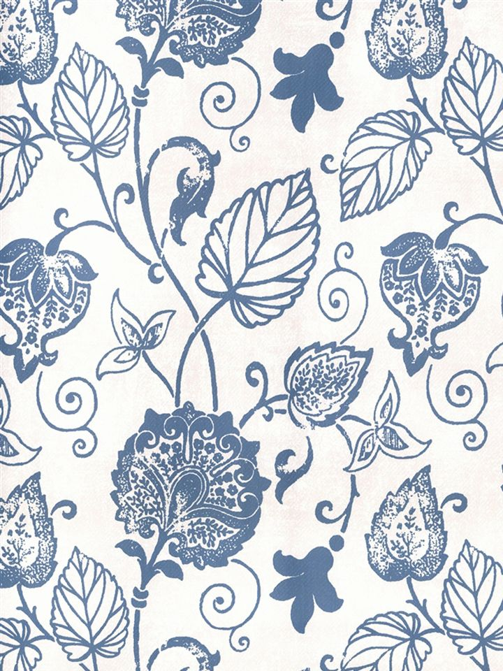 White And Blue Flower Wallpaper Blue and white floral vine 720x960