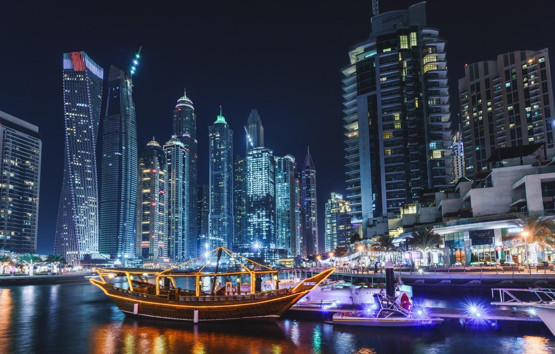 Wallpaper city lights Dubai sea ocean night evening 1332x850