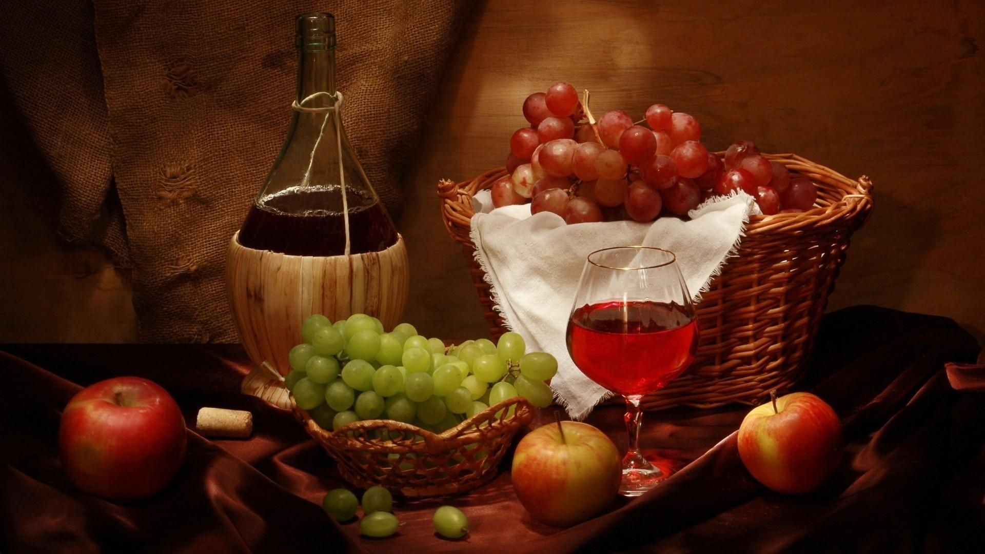 Food Desktop Wallpaper 1920x1080 Food Desktop Grapes Wine Apples 1920x1080