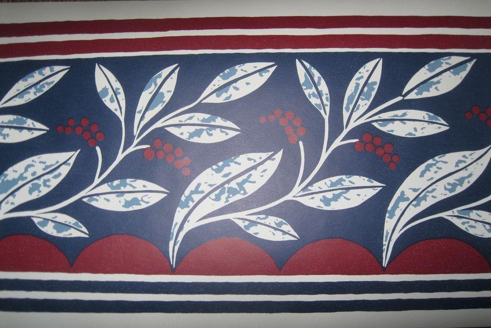 Leaves Leaf Red Beige Navy Blue Wallpaper Border 553340 Vintage eBay 1000x667