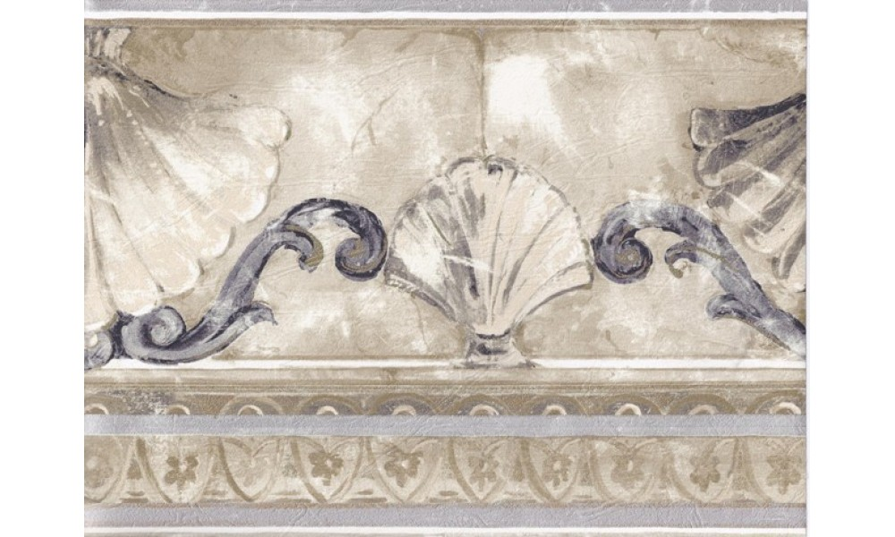 Home Silver Gold Stone Sea Shell Molding Wallpaper Border 1000x600