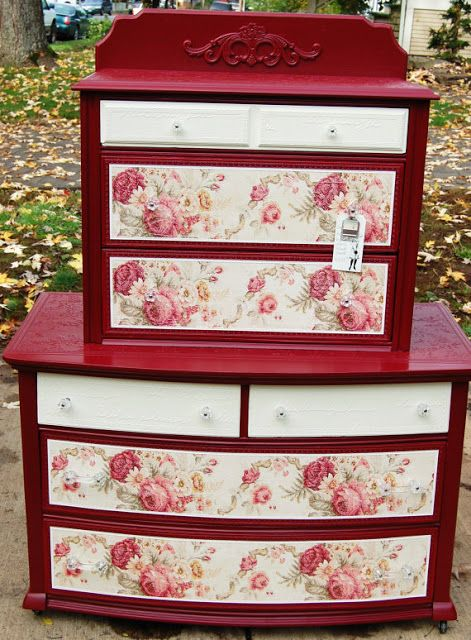 the red painted furniture painting furniture red rose painted dressers 471x640